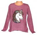 Měnící svetr s jednorožcem - Unicorn - vínový