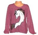 Měnící svetr s jednorožcem - Unicorn - vínový 2