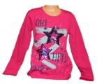Měnící tričko dl.rukáv - teplejší - hvězdy - tm.růžové