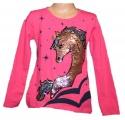 Měnící tričko, tunika dl.rukáv - tm.růžové -velké - kůň