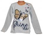 Měnící tričko dl.rukáv - teplejší - šedé - motýl - velké
