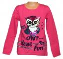 Měnící tričko dl.rukáv - sova - tm.růžové