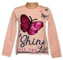 Měnící tričko dl.rukáv - teplejší - lososové - motýl - velké
