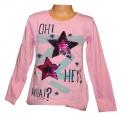 Měnící tričko dl.rukáv - teplejší - hvězdy - sv.růžové