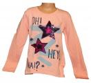 Měnící tričko dl.rukáv - teplejší - hvězdy - lososové