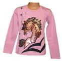 Měnící tričko - teplejší - sv.růžové - kůň - malé