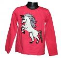 Měnící tričko, tunika dl.rukáv - tm.růžové - Unikorn-jednorožec - malé