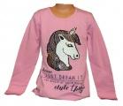 Měnící tričko, tunika dl.rukáv - teplejší - jednorožec-Unicorn-sv.růžové