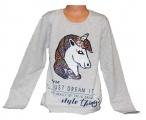 Měnící tričko, tunika dl.rukáv - teplejší - jednorožec-Unicorn-šedé