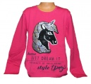 Měnící tričko, tunika dl.rukáv - teplejší - jednorožec-Unicorn-tm.růžové
