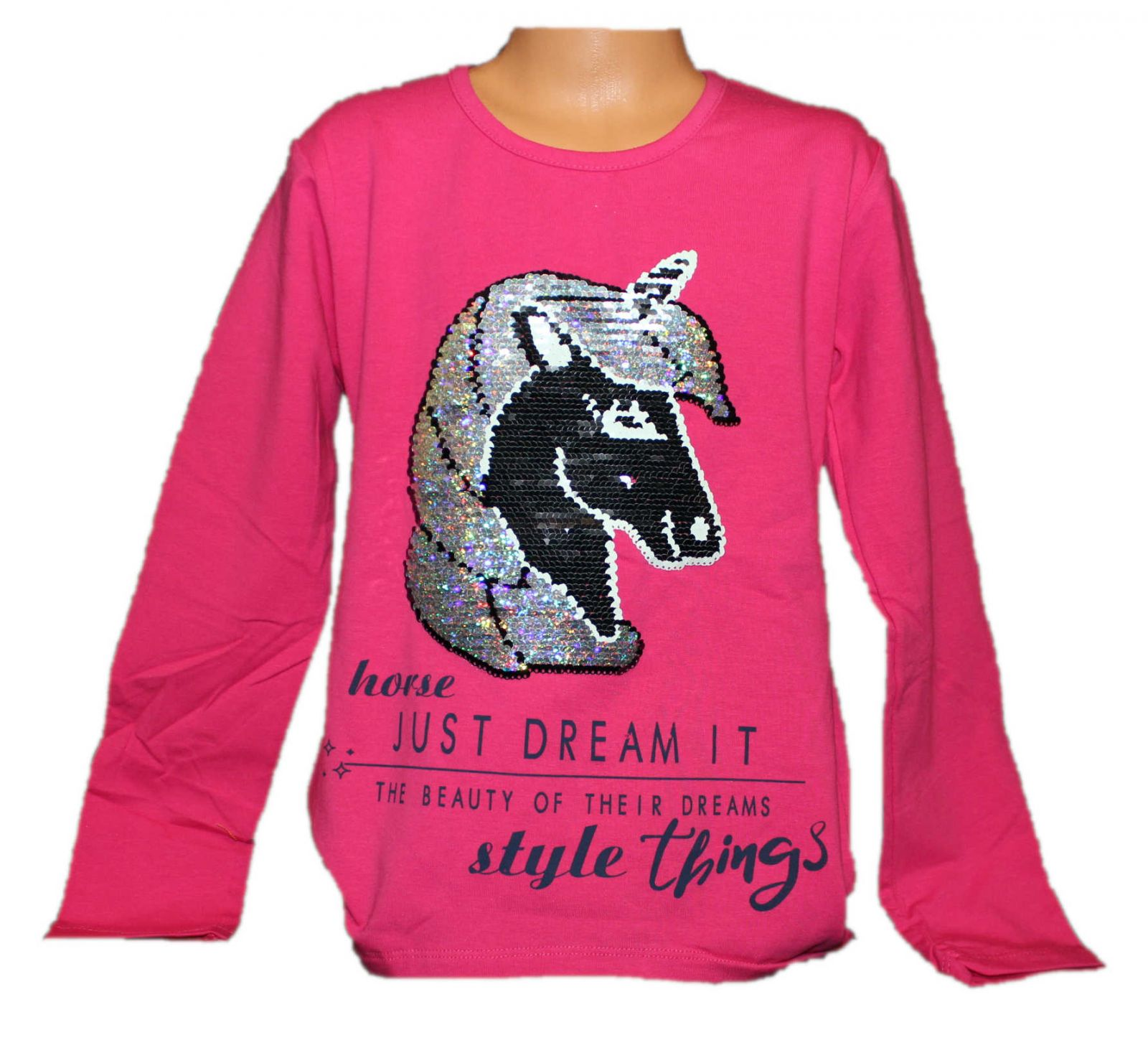 měnící tričko unicorn, měnící triko, přeměňovací tričko, měnící obrázek, tričko s flitry Tomurcuk