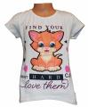 Dívčí tričko s kočkou - blikací oči - bílé