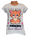 Dívčí tričko s kočkou - blikací oči - šedé