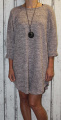 Dámské volné šaty s přívěskem - růžovo-šedé