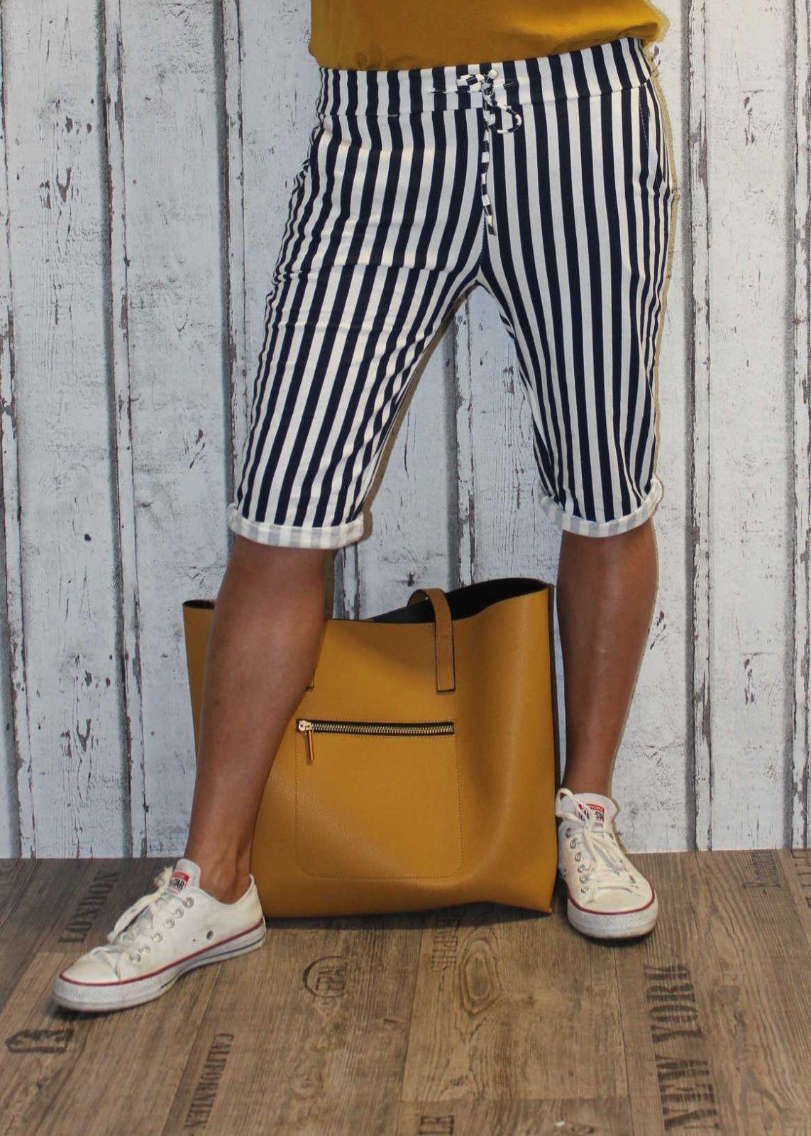 Dámské kraťasy dámské baggy pruhované kraťasy Italy Moda