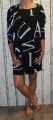 Dámské bavlněné šaty 3/4 rukáv, tunika - černá s písmeny