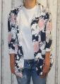 Dámský teplákový bavlněný kardigan - kytky - modro-bílý