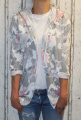 Dámský teplákový bavlněný kardigan - kytky - růžovo-šedý