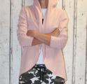 Dámský bavlněný kardigan s kapucí - růžový