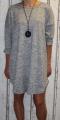 Dámské volné šaty s přívěskem - sv.šedé