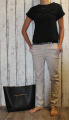 Dámské elegantní kalhoty - béžovo-černé