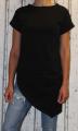 Dámské dlouhé tričko zkosený střih - černé