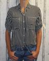 Dámská košile, halenka - pruhy - černo-bílá