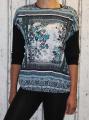 Dámské triko/tunika - černo-zelené vzor