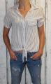 Dámská košile, halenka - pruhy - šedo-bílá