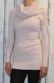 Dámský dlouhý pletený svetr - velký límec - růžový