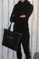 Dámský dlouhý pletený svetr - velký límec - černý