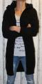 Dámský dlouhý pletený kardigan - černý