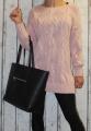 Dámský dlouhý pletený svetr - růžový