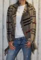 Dámský kostkovaný kardigan - kabát - béžový