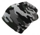 Dětská maskáčová čepice vyteplená fleesem- šedá