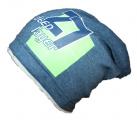 Dětská bavlněná čepice se spadlým vrškem- modrá s číslem - šedý lem