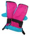Dětské zimní rukavice, lyžařské rukavice - palčáky VELKÉ - růžovo-modro-černé