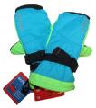 Dětské zimní rukavice, lyžařské rukavice - palčáky VELKÉ - modro-zeleno-černé