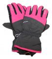 Dětské zimní, lyžařské rukavice - prstové - šedo-růžové