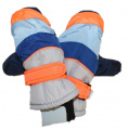 Dětské zimní rukavice - palčáky - šedo-modro-oranžové