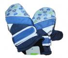 Dětské zimní rukavice - palčáky - modré s auty