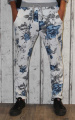 Dámské baggy, tepláky se spadlým sedem - kytky - bílo-modro-šedé