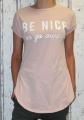 Dámské bavlněné tričko krátký rukáv, dámské dlouhé tričko be nice, tričko s rozparky, růžové dlouhé tričko