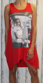 Dámské bavlněné letní šaty s potiskem - červené