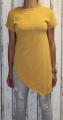 Dámské dlouhé tričko zkosený střih - žluté-hořčicové