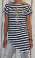 Dámské dlouhé tričko zkosený střih - modro-bílé pruhy