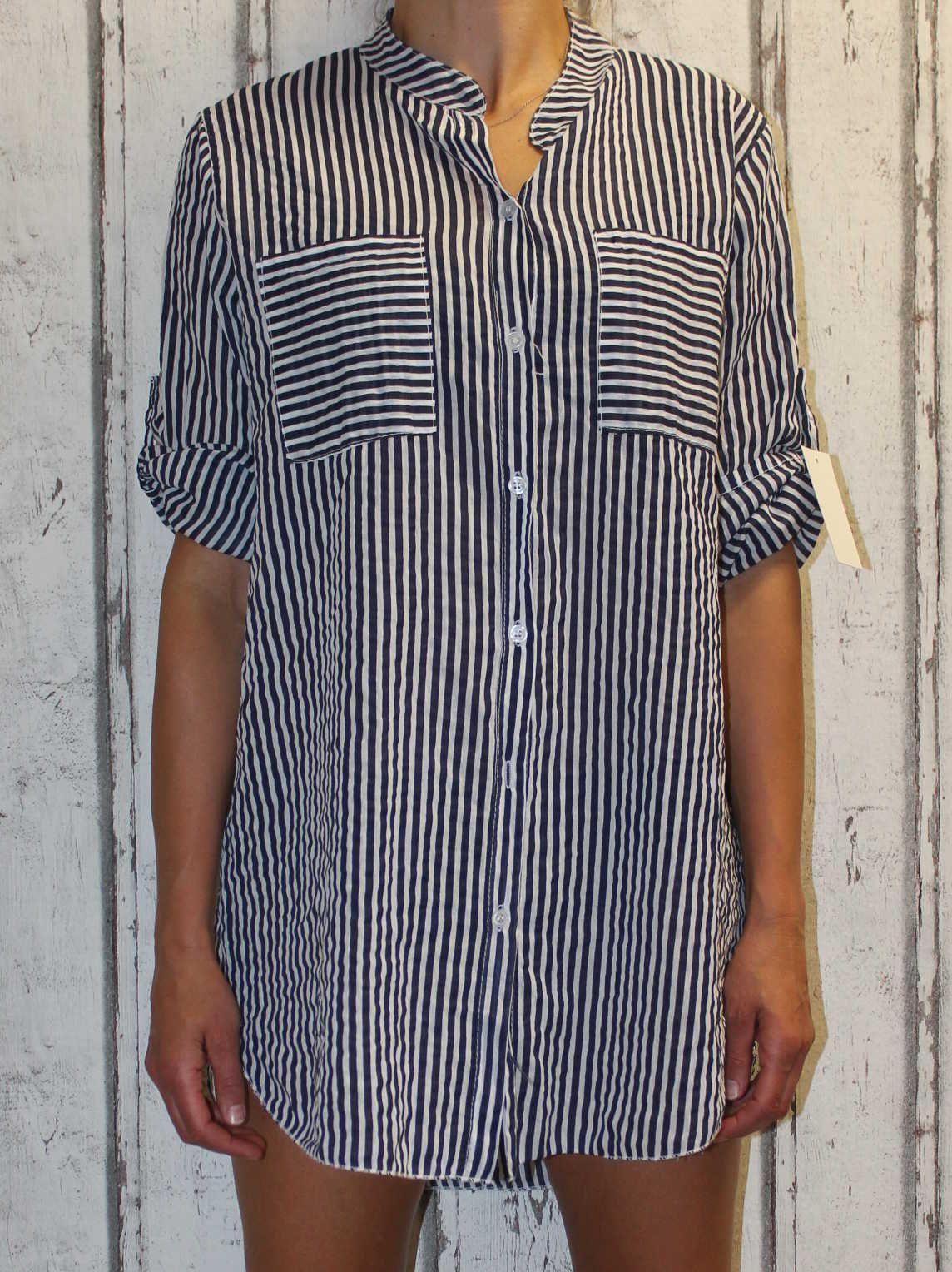Dlouhá dámská košile dámská tunika dámská halenka pruhovaná košile košile se zavazováním volná košile
