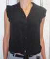Dámská košilová halenka bez rukávů - černá