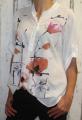 Dámská košile - kytky - bílá