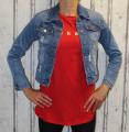 Dámské bavlněné tričko krátký rukáv dámské dlouhé tričko tričko s rozparky Italy Moda